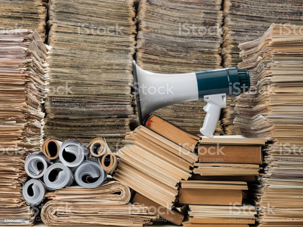 Large Amount Of Documents, Newspapers, Magazines And Books stock photo