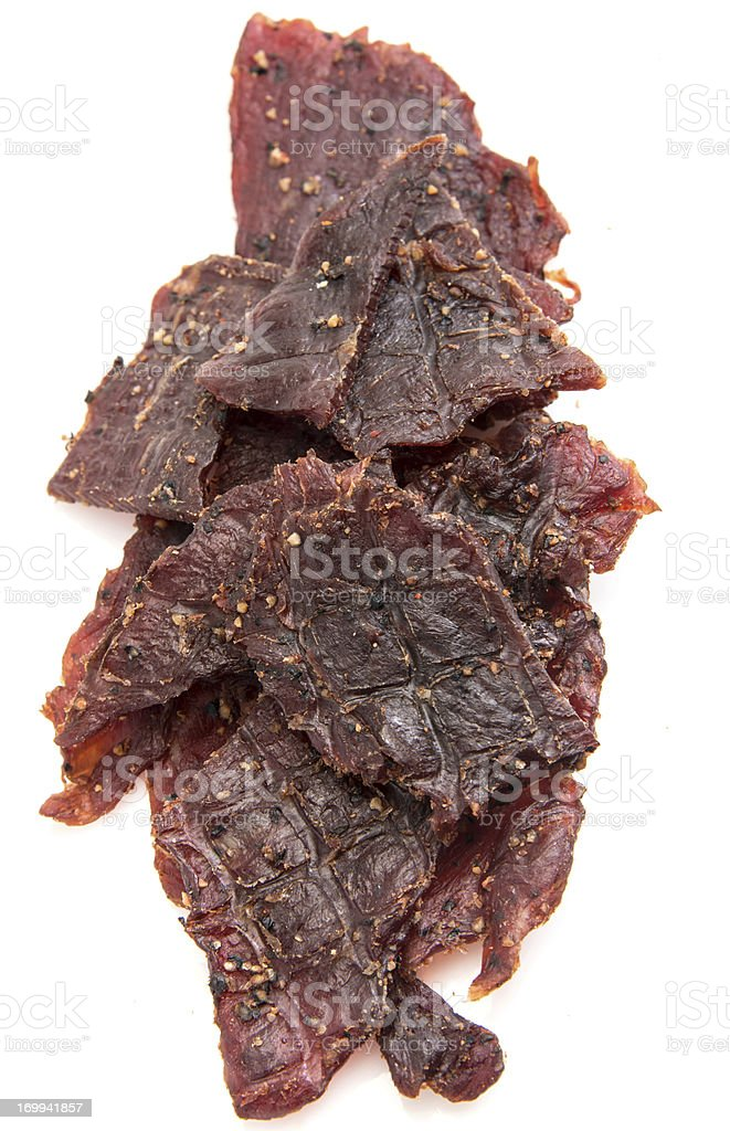 A large amount of peppered beef jerky stock photo