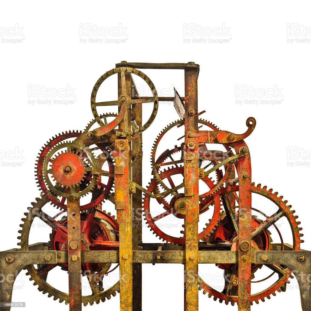 Large ancient church clock mechanism isolated on white stock photo