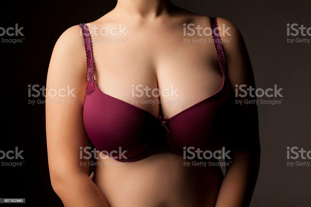 Large and beautiful women breasts in purple bra - Stock image .