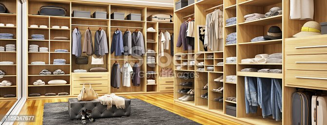 istock Large and modern dressing room 1159347677