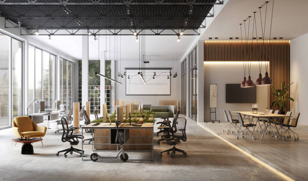 large and modern office interiors - modern office zdjęcia i obrazy z banku zdjęć