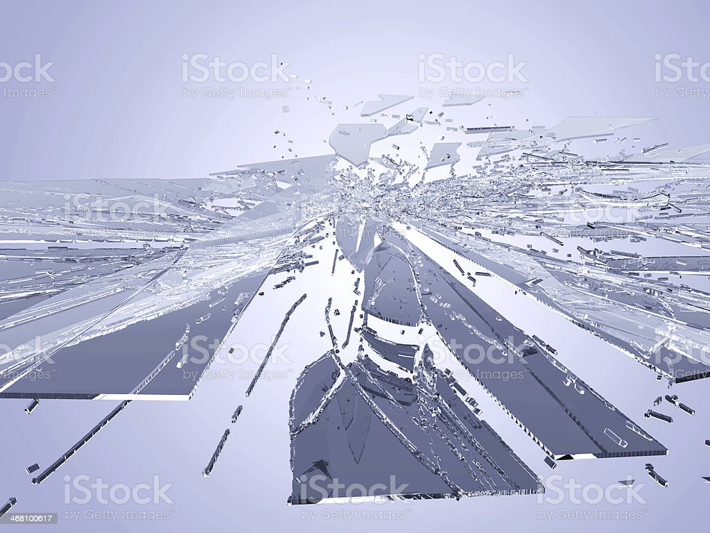 Large and small pieces of shattered glass royalty-free stock photo