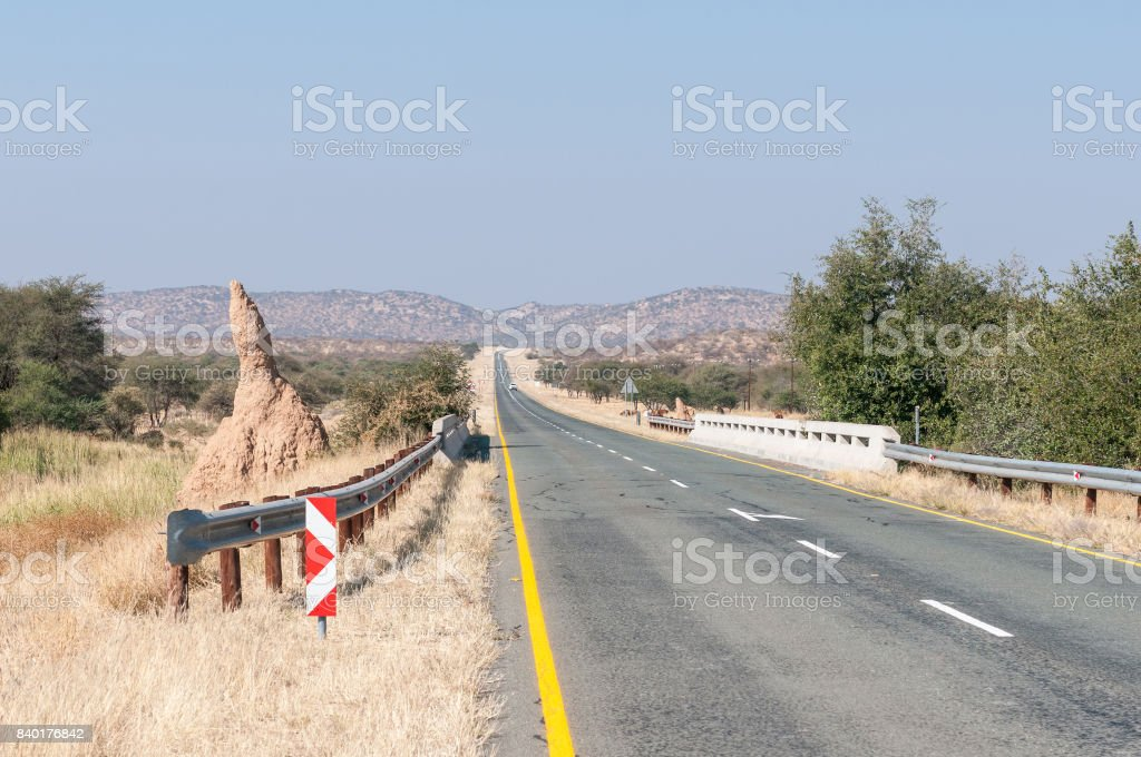 Large anthill next to a bridge on the C35-road stock photo