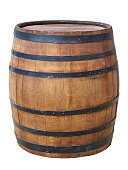 Large antique wooden barrel with wine or beer isolated on a white background.