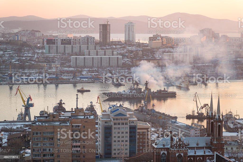 Large anti-submarine ship 'Admiral Panteleyevg'. stock photo