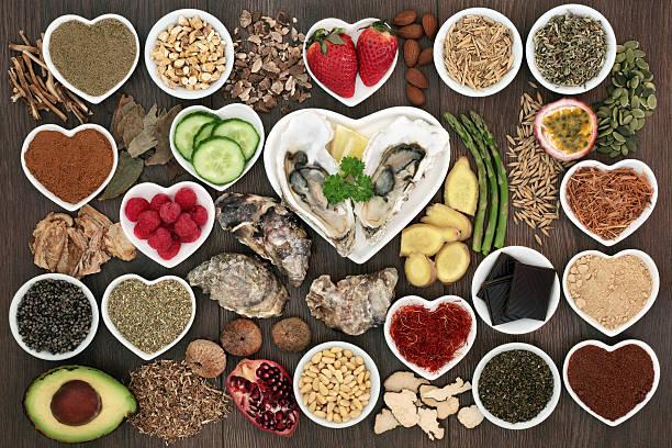 large aphrodisiac food collection - caernarfon and merionethshire stockfoto's en -beelden