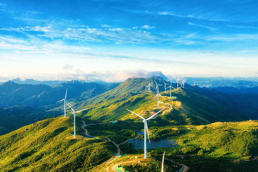 Large areas of wind power in the mountains