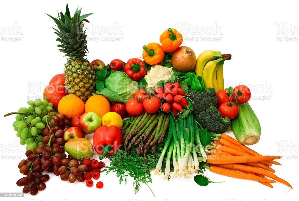A large array of fresh fruits and vegetables stock photo