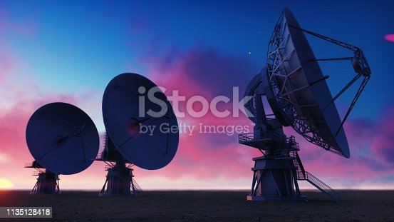 Large Array Radio Telescope. Time-lapse of a radio telescope in desert at sunrise.