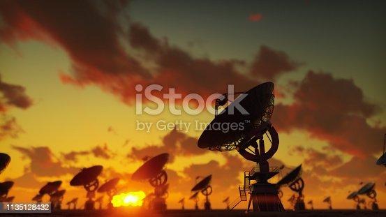 Large Array Radio Telescope. Time-lapse of a radio telescope in desert at sunset.