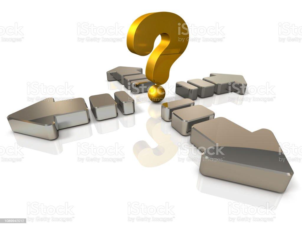 Een grote pijl uit te breiden in de voorzijde en de rug en de linker en de rechter. Een groot vraagteken is een symbool vertegenwoordigt onvoorspelbare verwarring. Witte achtergrond. 3D illustratie foto