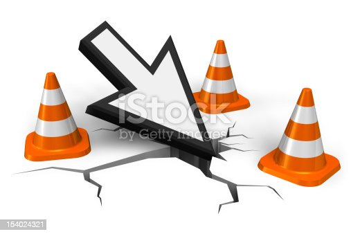 istock Large arrow pointing to cracks in the road by traffic cones 154024321