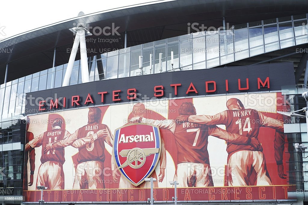 Large Arsenal logo and billboard on Emirates Stadium stock photo