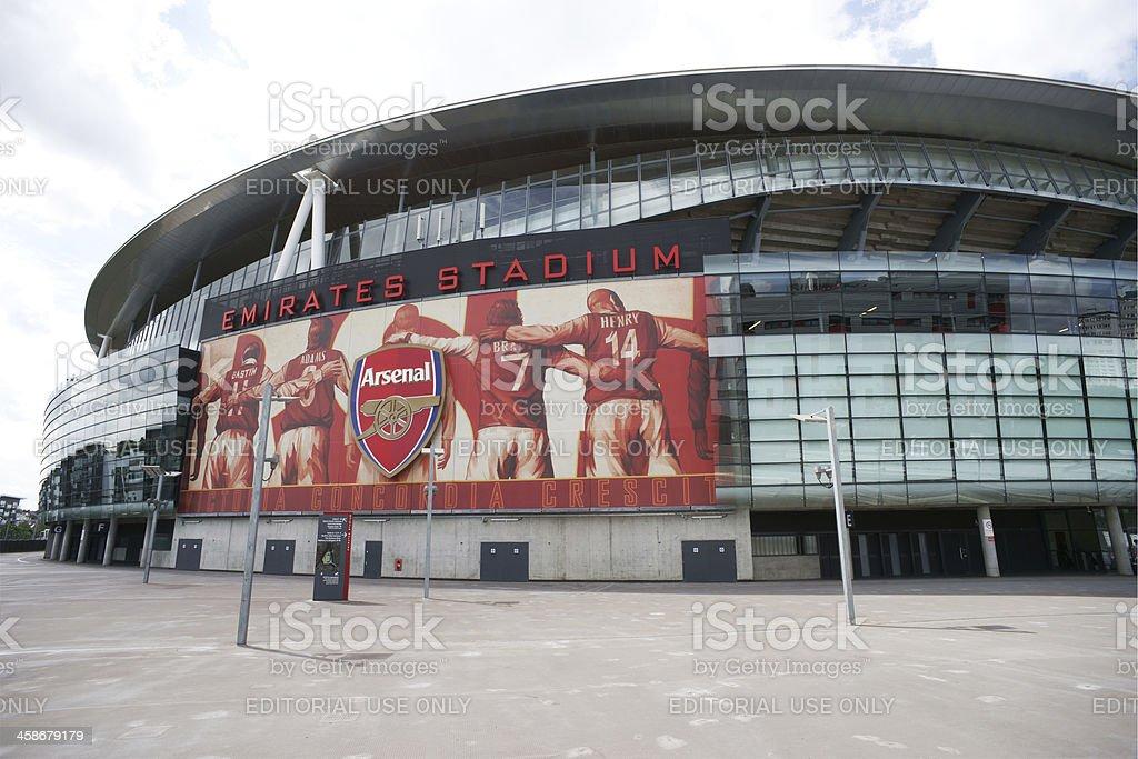 Large Arsenal logo and billboard on Emirates Stadium royalty-free stock photo