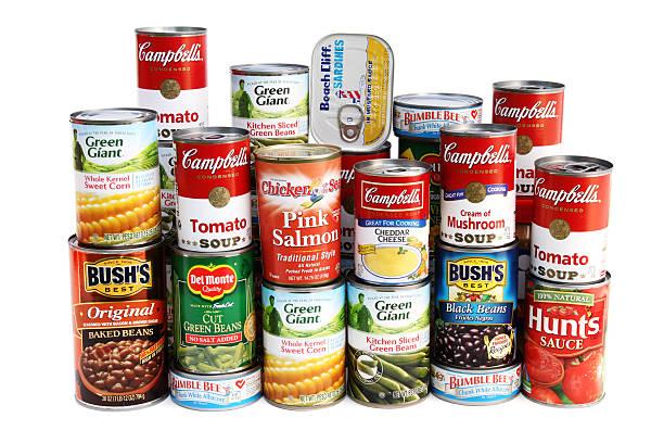 대형 다양한 통조림 식품은 - 통조림 식품 뉴스 사진 이미지