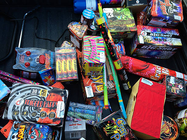 Large Assortment of Fireworks Piled Together stock photo