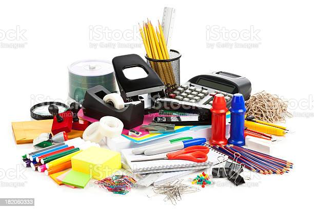 Large Group of Office Supply on White Background