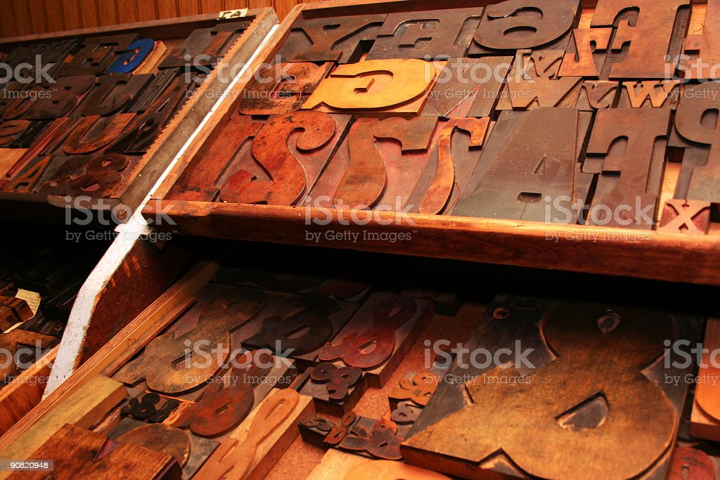 Large assortment of old woodtype. royalty-free stock photo