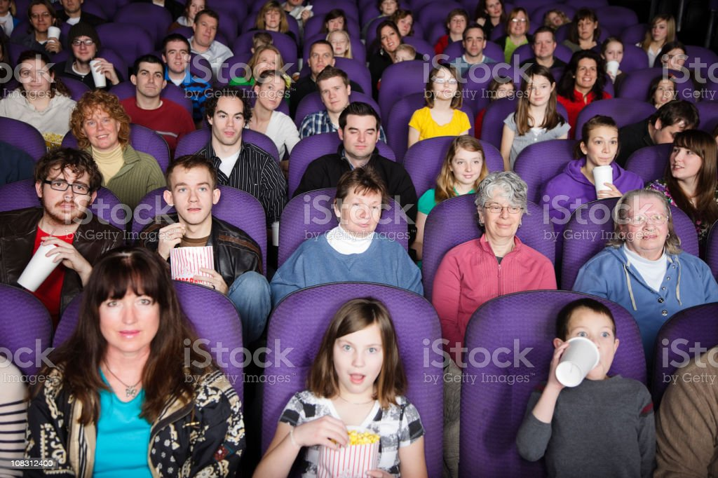 Large Audience in a Movie Theater stock photo