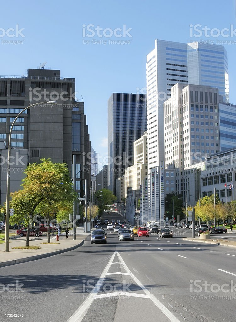 Large Avenue in Downtown Montreal City royalty-free stock photo