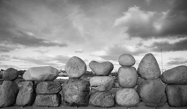 Large balancing rocks in black and white stock photo