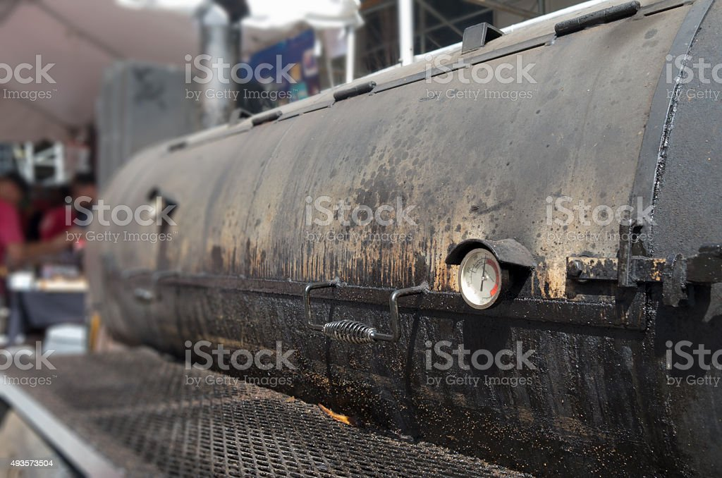 large Barbecue smoker stock photo