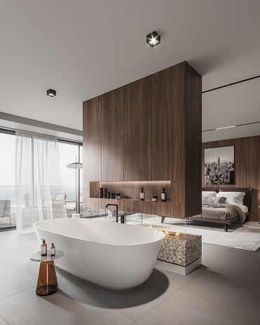 Computer generated image of a bathroom interior with large bathtub. Interior of bathroom of a master bedroom in 3d.