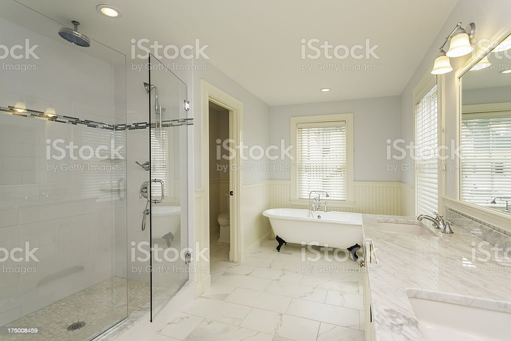 Large Bathroom with Enclosed Glass Shower stock photo