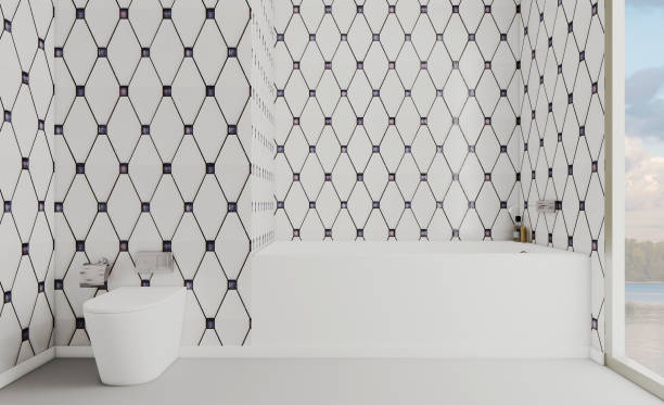 Grande casa de banho com mobiliário branco. Close-up da jacuzzi. Chuveiro com porta de vidro. Peças cromadas. rendição 3D - foto de acervo