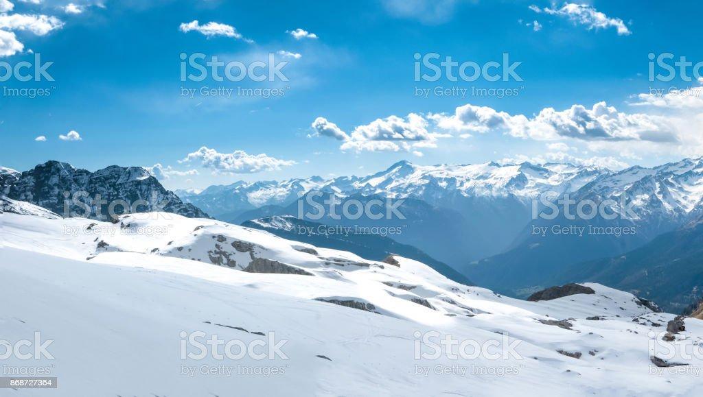 Large beautiful alpine landscape in winter stock photo