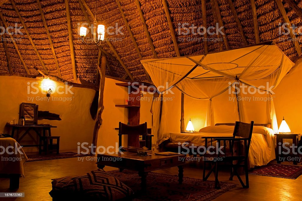 Large bedroom in a Safari tent royalty-free stock photo