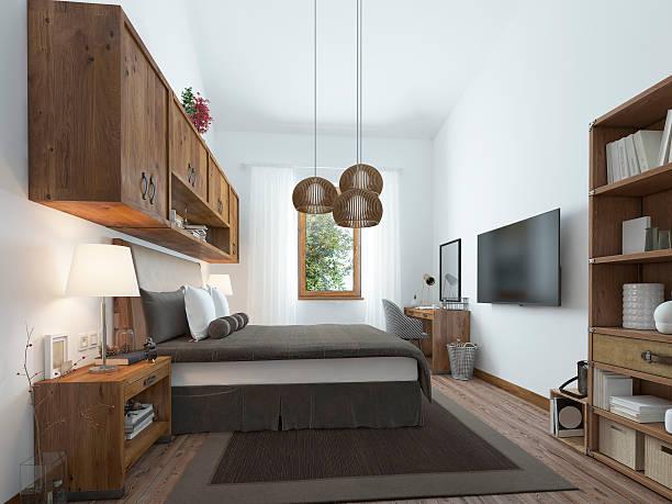 large bedroom in modern style with elements - bett landhausstil stock-fotos und bilder