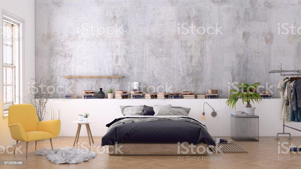 Großes Schlafzimmer Innenraum Mit Leere Wand Stock-Fotografie und ...