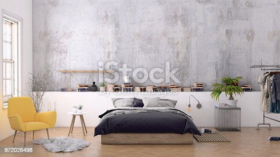 924294300 istock photo Large bedroom interior with blank wall 972026498
