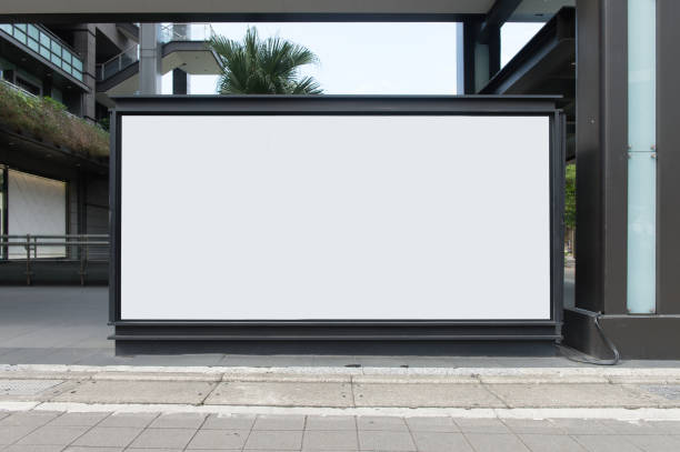 Large Billboard in the City Street, Banner - Sign, Lighting Equipment, Billboard, Advertisement,Large blank billboard on a street wall,  banners with room to add your own text billboard stock pictures, royalty-free photos & images