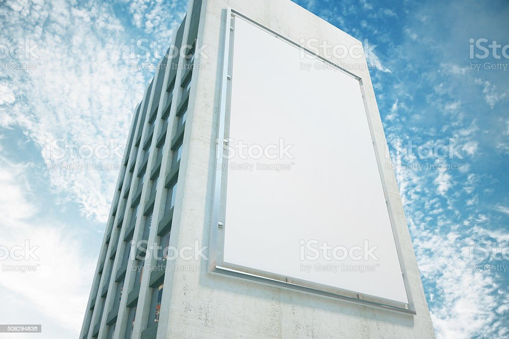 Large billboard on a building wall, mock up stock photo