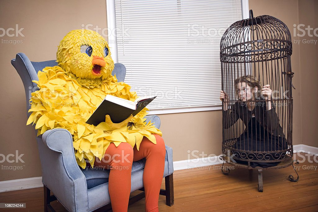 Large Bird Costume with Pet Person stock photo