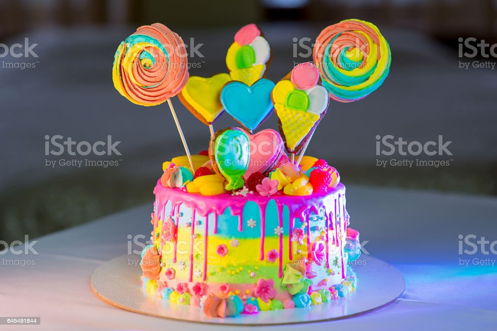 large birthday cake on the table - Photo