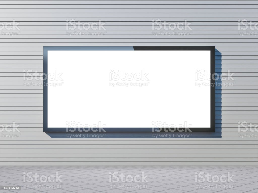 Large blank billboard lightbox mockup on gray wall, horizontal stock photo