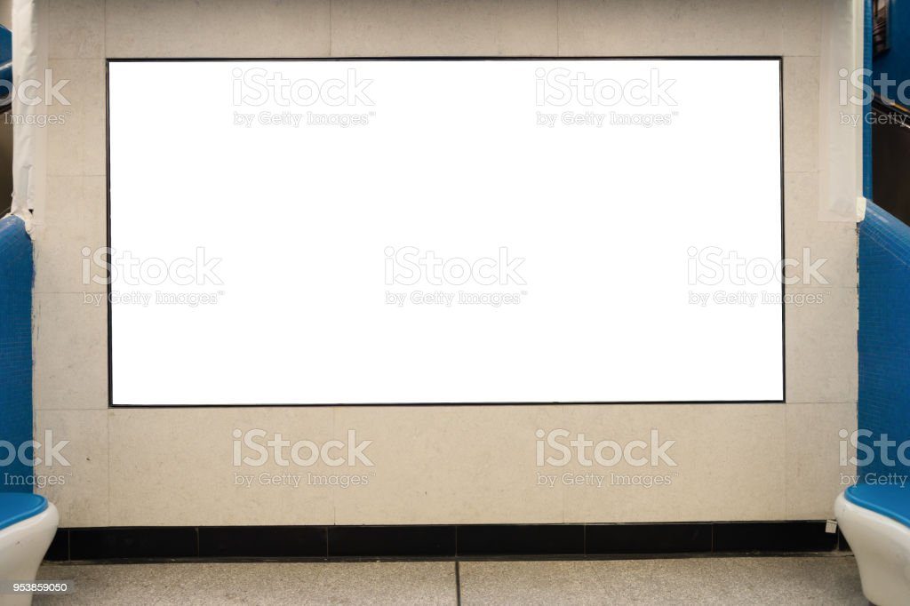Large blank billboard on a street wall, banners with room to add your...