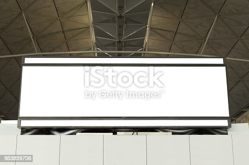 istock Large blank billboard on a street wall,  banners with room to add your own text 953859706