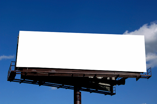 large billboard against blue sky