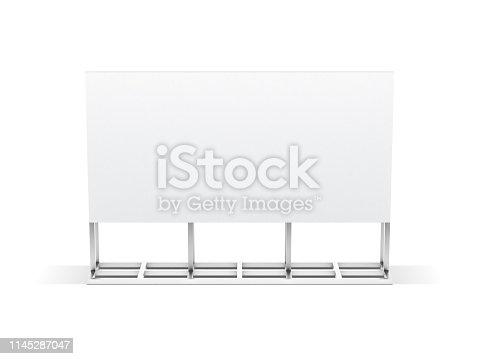 istock Large blank horizontal billboard stand mockup isolated on white background 1145287047