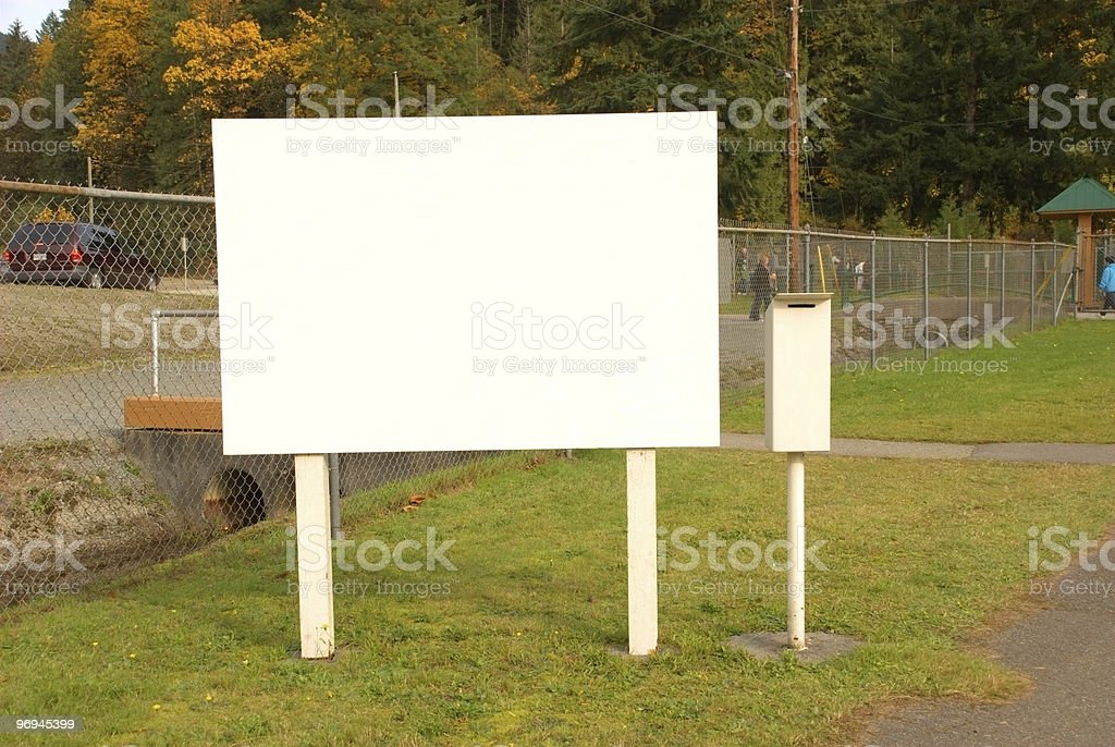Large Blank Sign and Donation Box royalty-free stock photo