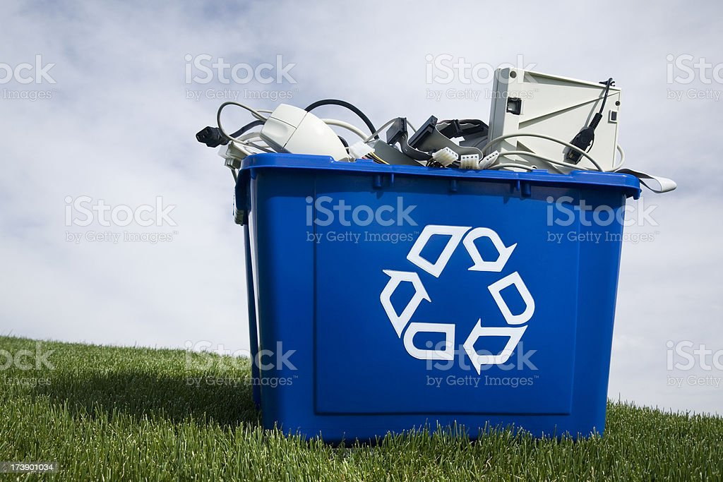 A large blue container for recycled goods stock photo