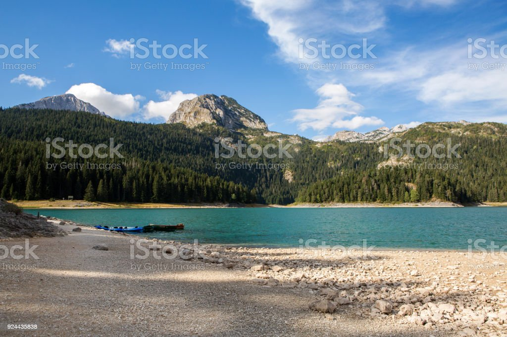 large blue lake in the mountains
