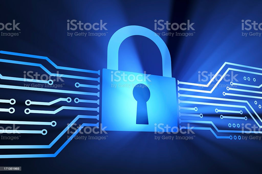 Large blue lock in middle of a communication illustration stock photo