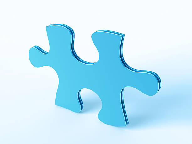 Large Blue Puzzle Piece 3D Render of a blue Puzzle Piece Symbol. Very high resolution available! Use it for Your own composings! blue 3d business NOT map NOT background stock pictures, royalty-free photos & images
