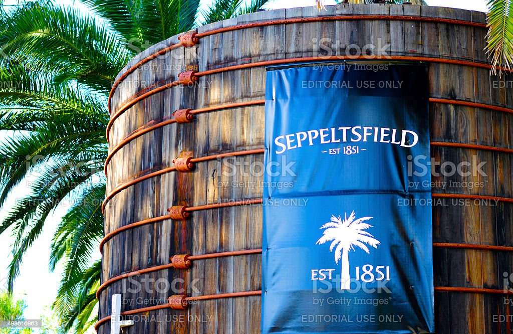 Large blue signage at entrance of Seppeltsfield winery. stock photo